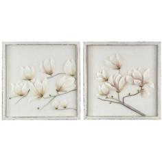 Set 2 cuadros con flores blancas