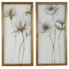 Set 2 panel de red flores blancas y madera natural