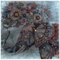 Lienzo elefante en tonos azul y rosa con piedras de colores