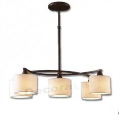 Lámpara colgante estilo clásico Arco en marrón óxido y pantallas en crema