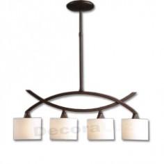 Lámpara cuatro luces pantallas crema iluminacion interior
