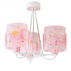 Lámpara de techo infantil Dalber 61337S Little Elephant rosa 3 luces