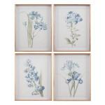 Set de 4 cuadros con impresión en motivo flores