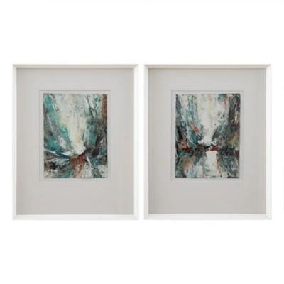 Pareja de cuadros abstractos con marco en madera