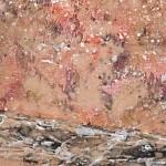 Pintura abstracta sobre marco blanco