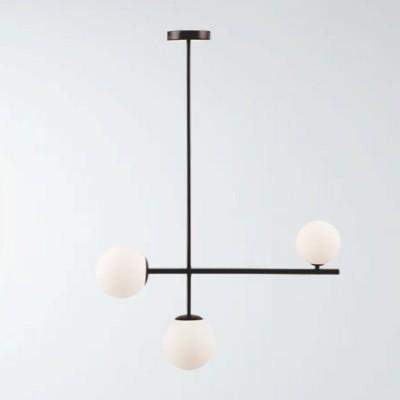 Lámpara de techo en color negro con bolas de cristal