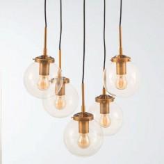 Lámpara de techo colgante en color oro con 5 luces