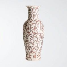 Vasija grande de filigrana en blanco roto y marrón rojizo
