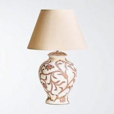 Lámpara filigrana fabricada en cerámica en blanco roto