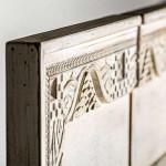 Tríptico Jaipur de madera tallada en color beige claro