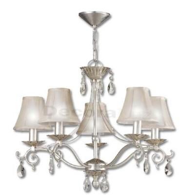 Lámpara Leonor con cinco luces clásica acabado pan de plata
