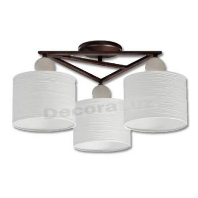 Lámpara marron oxido pantallas blanco tres luces estilo moderno
