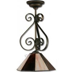 Colgante rústico bronce pantalla cristal tiffany