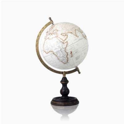 Globo del mundo fabricado en metal con acabado blanco oro