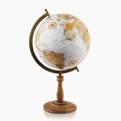 Globo del mundo 25cm en color blanco y madera