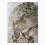 Pintura en lienzo de africana con detalles en plata y oro