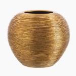 Jarrón de cerámica con acabado en color dorado con textura