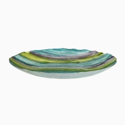 Centro de mesa en color azul-verde fabricado en cristal
