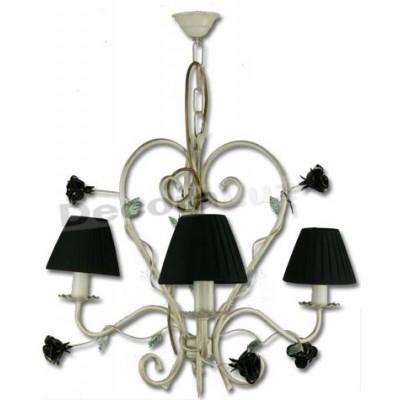 Lámpara clásica en crema decorada con flores negras