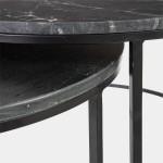 Set de 2 mesas auxiliares redondas de mármol negro y metal