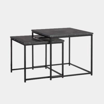 Set de 2 mesas cuadradas fabricado en mármol negro y metal