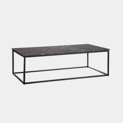 Mesa centro fabricada en metal y mármol negro