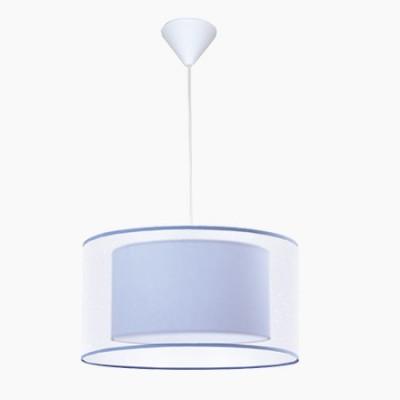 Lámpara colgante juvenil en color azul con doble pantalla