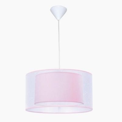 Lámpara de techo juvenil con acabado en lila y pantalla doble
