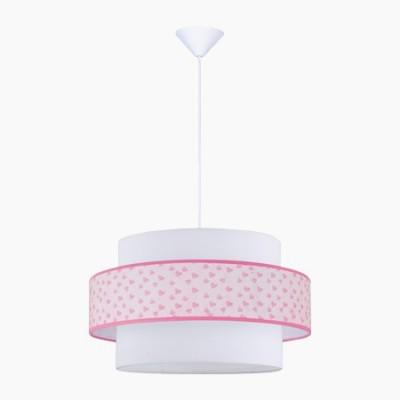 Lámpara juvenil colgante rosa con motivo de corazones
