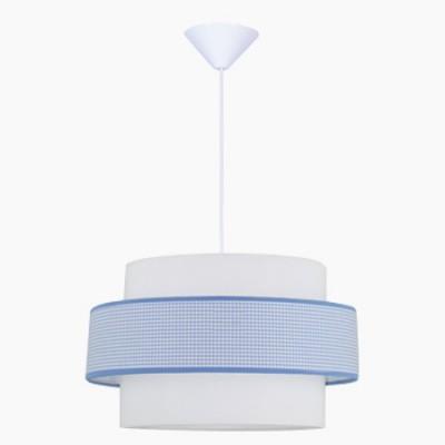Lámpara de techo juvenil con pantalla de cuadros azules y blancos