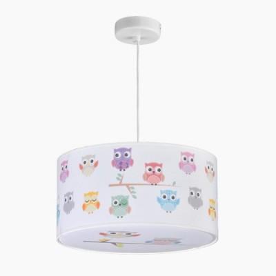 Lámpara colgante infantil con motivo de búhos de colores