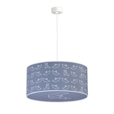 Lámpara colgante en color azul con dibujos de barcos de papel