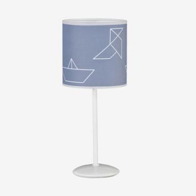 Lámpara sobremesa con dibujos de barcos de papel