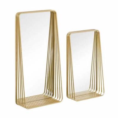 Set de 2 espejos de metal con acabado...