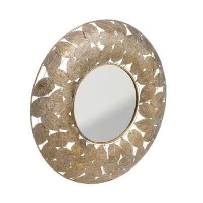 Espejo de metal con hojas en color...