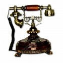Telefono antiguo utilizable estilo clásico color madera oro
