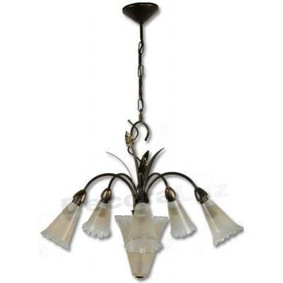 Lámpara color oro antiguo cristales decorativos