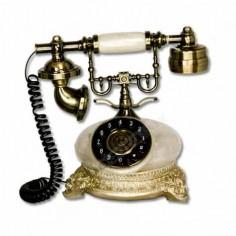 Teléfono real antiguo estilo clásico color nácar blanco detalles