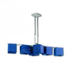 Lámpara diseño moderno cromo pantallas minimalistas cobalto