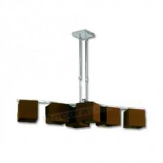 Lámpara diseño moderno cromo pantallas marrón chocolate