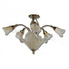 Lámpara color bronce antiguo con cristales decorativos