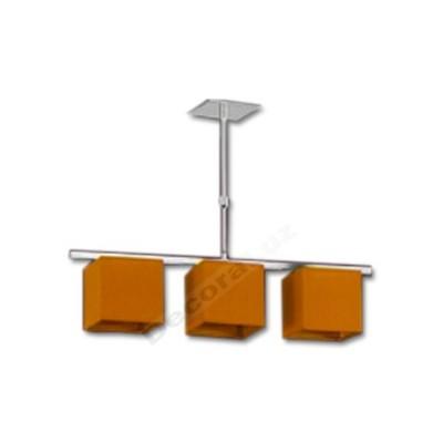 Lámpara tres luces cromo pantallas naranjas forma cubo