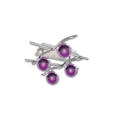 Aplique diseño moderno color cromo cristales decorativos lila