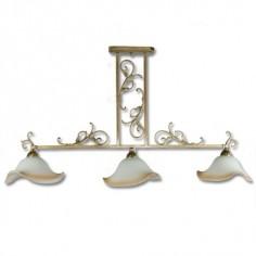 Lámpara de tres luces clásica acabado oro cuero