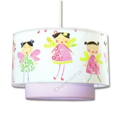 -Colgante infantil doble pantalla lila blanco detallado dibujos
