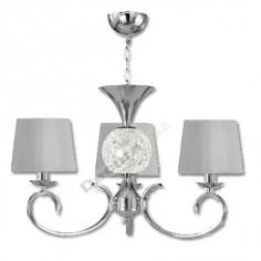 Lámpara moderna cromo tres luces bola cristal led