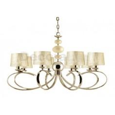 Lámpara elegante acabado cuero 8 luces E14 60w