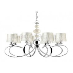 Lámpara elegante acabado cromo 8 luces pantallas nácar
