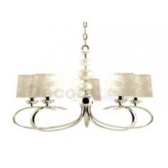 Lámpara elegante cuero 5 pantallas nácar dorado