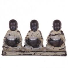 Portavelas resina figuras monjes étnicos estilo moderno